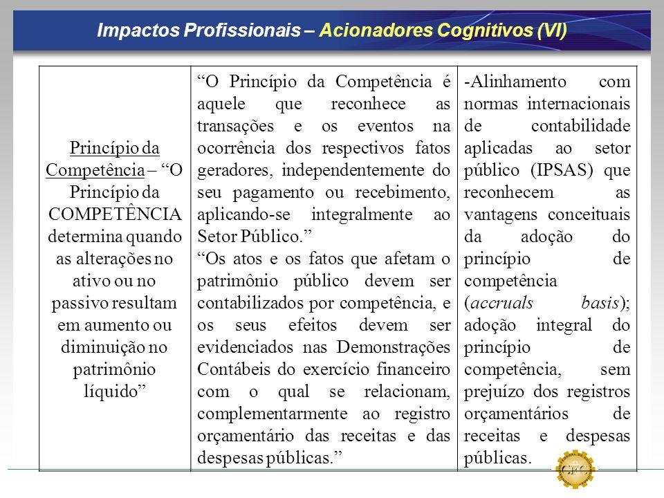 Impactos Profissionais – Acionadores Cognitivos (VI) Princípio da Competência – O Princípio da COMPETÊNCIA determina quando as alterações no ativo ou