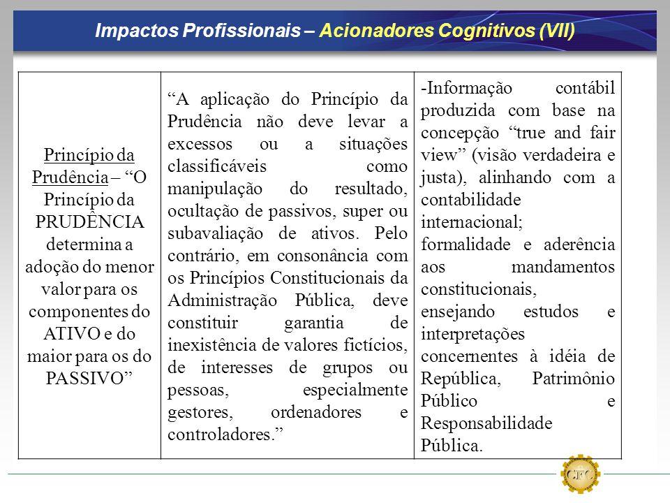 Impactos Profissionais – Acionadores Cognitivos (VII) Princípio da Prudência – O Princípio da PRUDÊNCIA determina a adoção do menor valor para os comp
