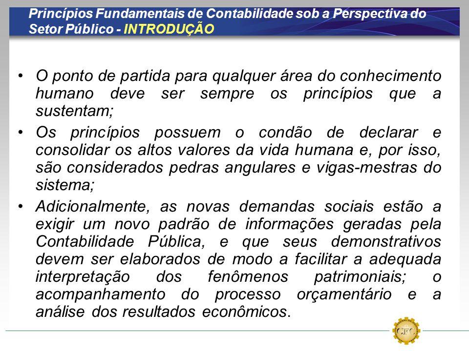 Princípios Fundamentais de Contabilidade sob a Perspectiva do Setor Público - INTRODUÇÃO O ponto de partida para qualquer área do conhecimento humano
