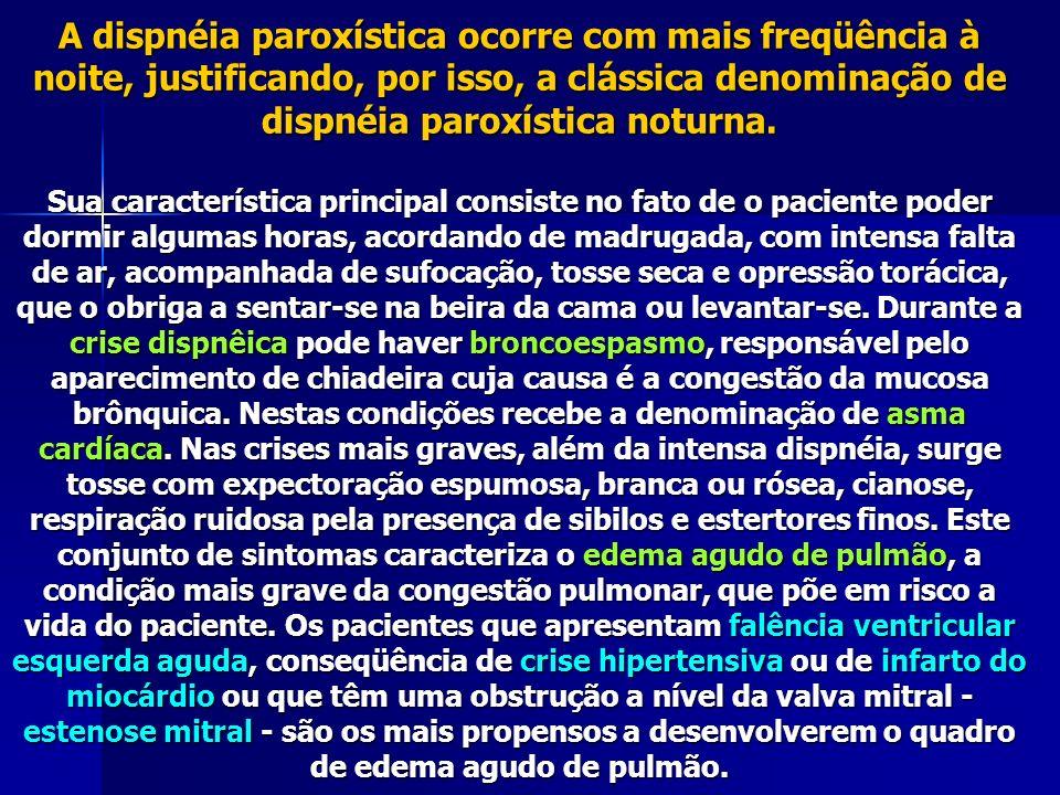 A dispnéia paroxística ocorre com mais freqüência à noite, justificando, por isso, a clássica denominação de dispnéia paroxística noturna.