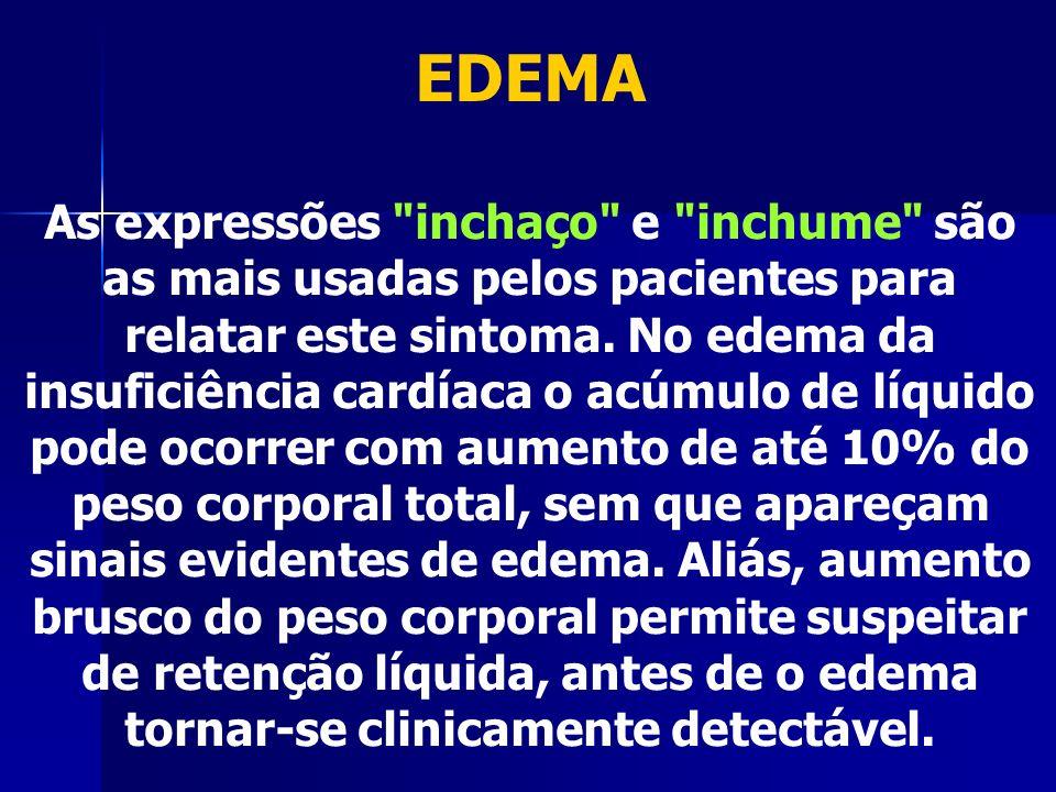EDEMA As expressões inchaço e inchume são as mais usadas pelos pacientes para relatar este sintoma.