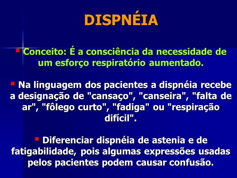 DISPNÉIA Conceito: É a consciência da necessidade de um esforço respiratório aumentado.