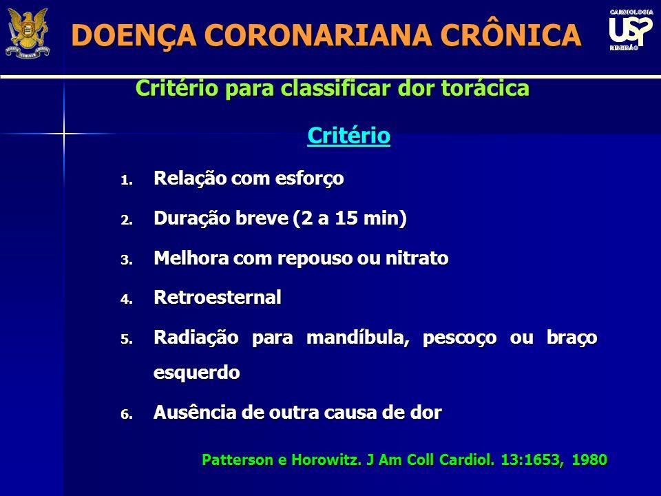 Critério para classificar dor torácica Critério 1.