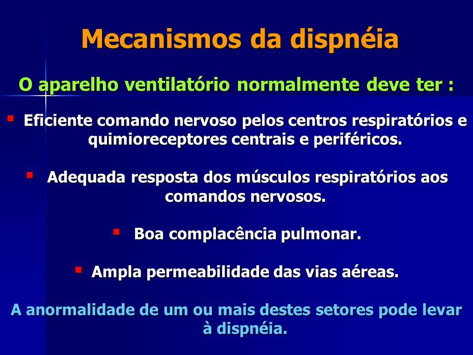 Mecanismos da dispnéia Mecanismos da dispnéia O aparelho ventilatório normalmente deve ter : Eficiente comando nervoso pelos centros respiratórios e quimioreceptores centrais e periféricos.