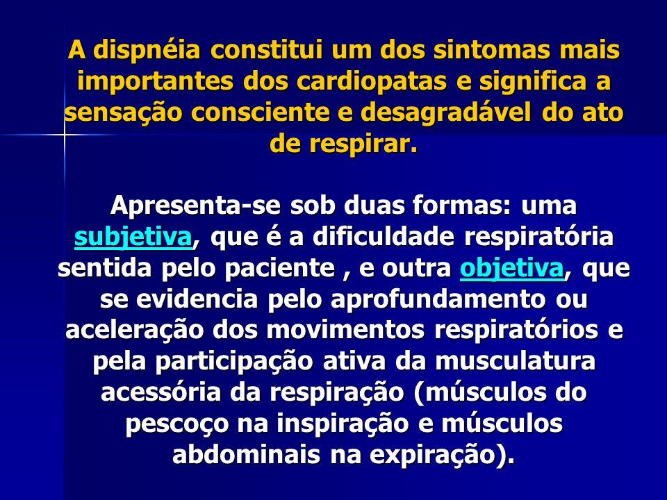 A dispnéia no cardiopata indica uma congestão pulmonar decorrente da insuficiência ventricular esquerda, apresentando características próprias quanto à duração, evolução, relação com esforço e posição adotada pelo paciente, que permitem reconhecer os seguintes tipos: dispnéia de esforço dispnéia de esforço dispnéia de decúbito dispnéia de decúbito dispnéia paroxística dispnéia paroxística A dispnéia de esforço é o tipo mais comum na insuficiência ventricular esquerda.