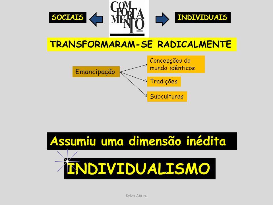 Kylza Abreu INDIVIDUAISSOCIAIS TRANSFORMARAM-SE RADICALMENTE Emancipação Tradições Subculturas Concepções do mundo idênticos Assumiu uma dimensão inéd