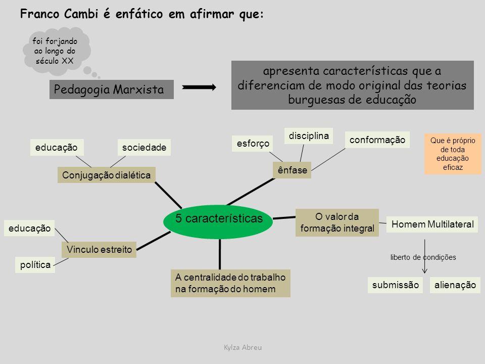 Kylza Abreu Franco Cambi é enfático em afirmar que: Pedagogia Marxista apresenta características que a diferenciam de modo original das teorias burgue