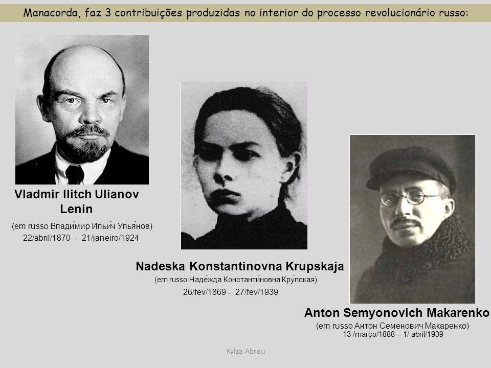 Kylza Abreu Manacorda, faz 3 contribuições produzidas no interior do processo revolucionário russo: Vladmir Ilitch Ulianov Lenin (em russo Влади́мир И