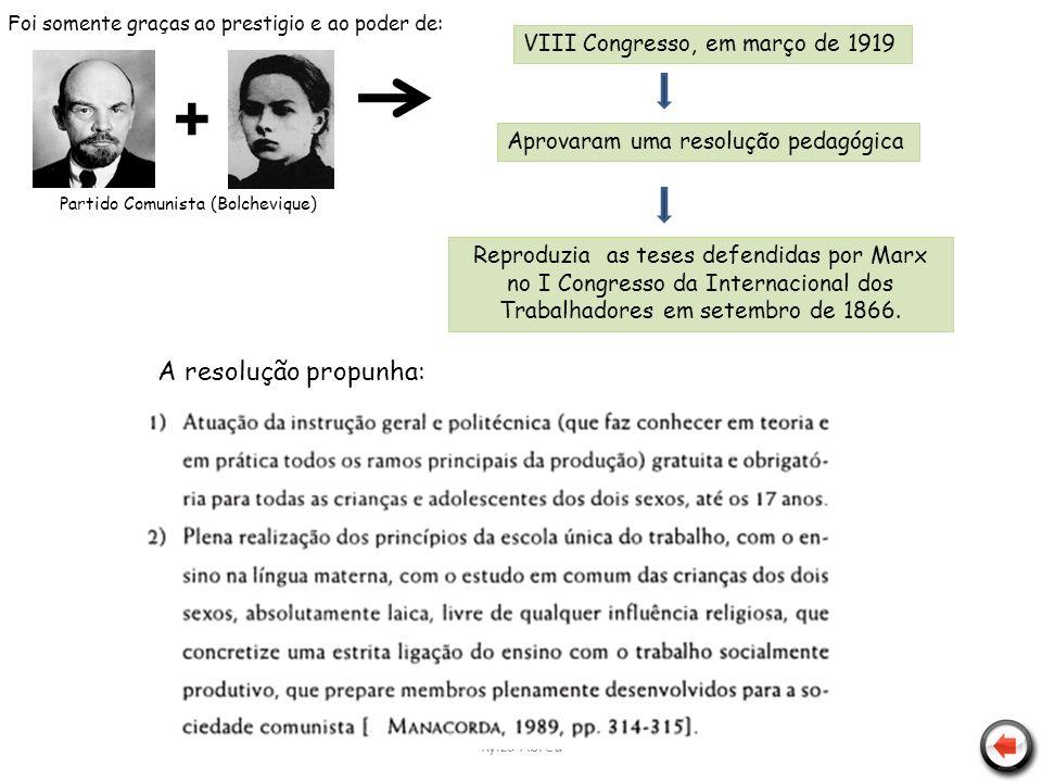 Kylza Abreu + Partido Comunista (Bolchevique) VIII Congresso, em março de 1919 Aprovaram uma resolução pedagógica Reproduzia as teses defendidas por M
