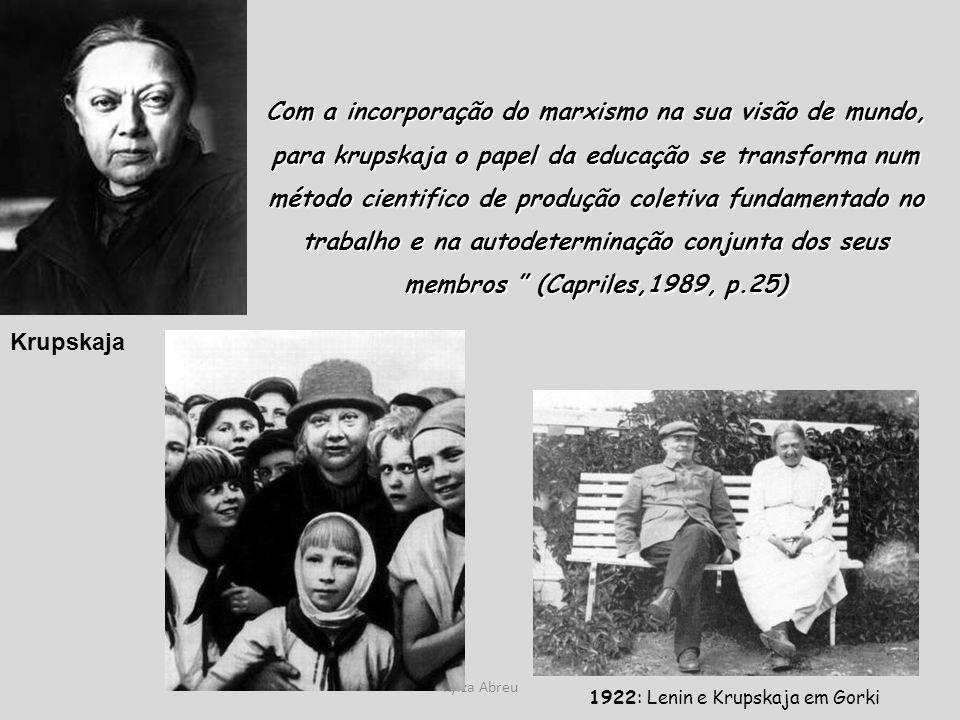 Kylza Abreu 1922: Lenin e Krupskaja em Gorki Krupskaja Com a incorporação do marxismo na sua visão de mundo, para krupskaja o papel da educação se tra