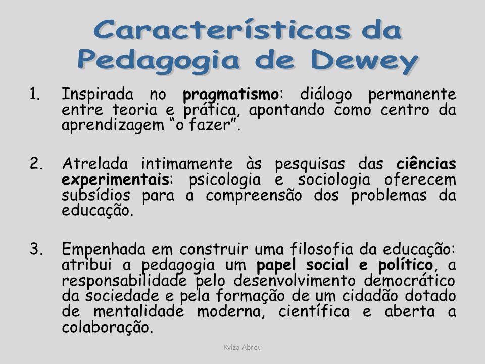 Kylza Abreu 1.Inspirada no pragmatismo: diálogo permanente entre teoria e prática, apontando como centro da aprendizagem o fazer. 2.Atrelada intimamen