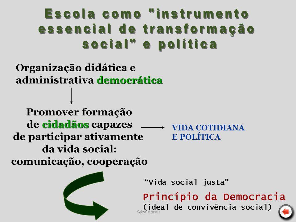 Kylza Abreu Promover formação cidadãos de cidadãos capazes de participar ativamente da vida social: comunicação, cooperação Vida social justa Princípi