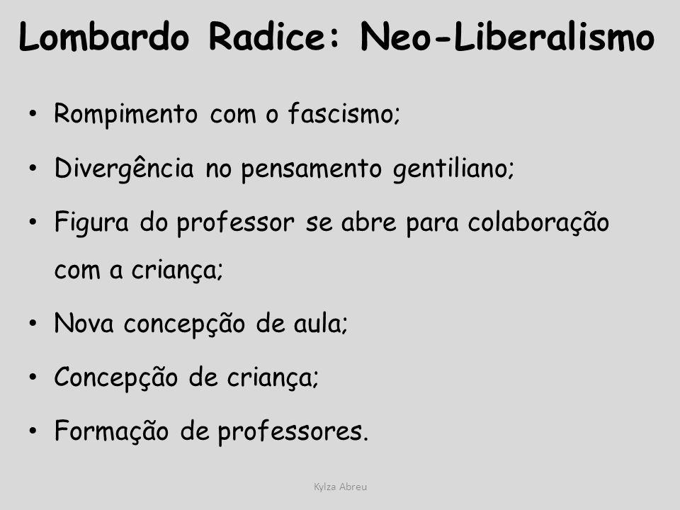 Kylza Abreu Lombardo Radice: Neo-Liberalismo Rompimento com o fascismo; Divergência no pensamento gentiliano; Figura do professor se abre para colabor
