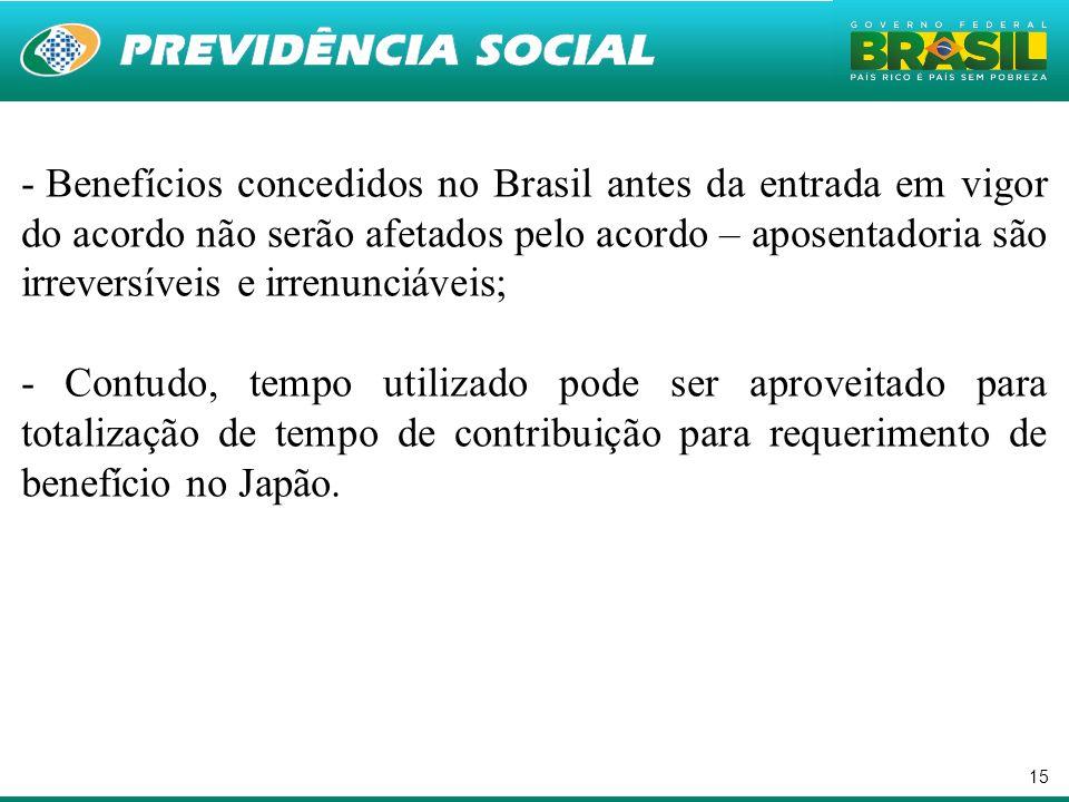 15 - Benefícios concedidos no Brasil antes da entrada em vigor do acordo não serão afetados pelo acordo – aposentadoria são irreversíveis e irrenunciá