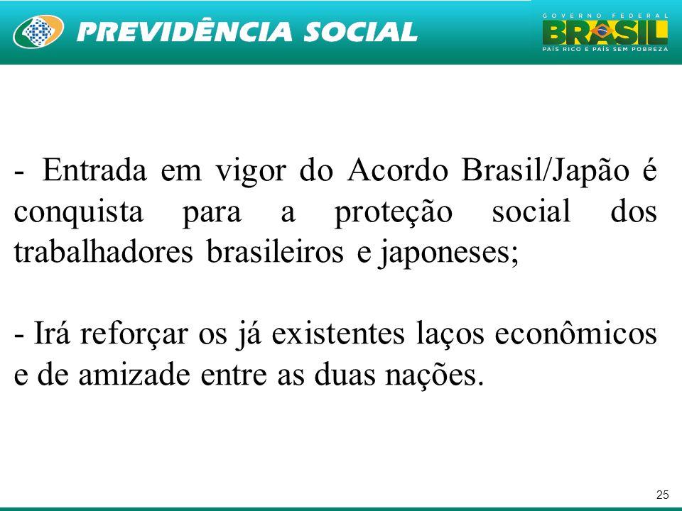 25 - Entrada em vigor do Acordo Brasil/Japão é conquista para a proteção social dos trabalhadores brasileiros e japoneses; - Irá reforçar os já existe