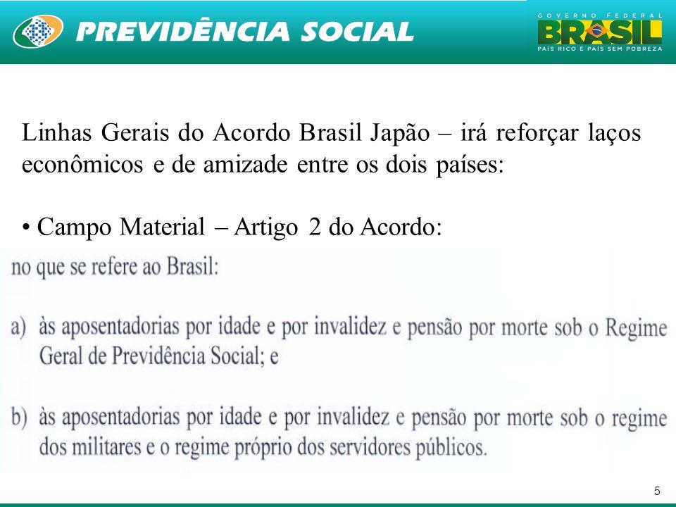 5 Linhas Gerais do Acordo Brasil Japão – irá reforçar laços econômicos e de amizade entre os dois países: Campo Material – Artigo 2 do Acordo: