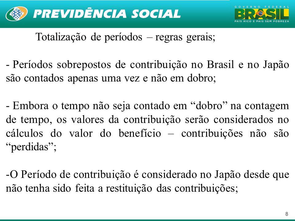 8 Totalização de períodos – regras gerais; - Períodos sobrepostos de contribuição no Brasil e no Japão são contados apenas uma vez e não em dobro; - E