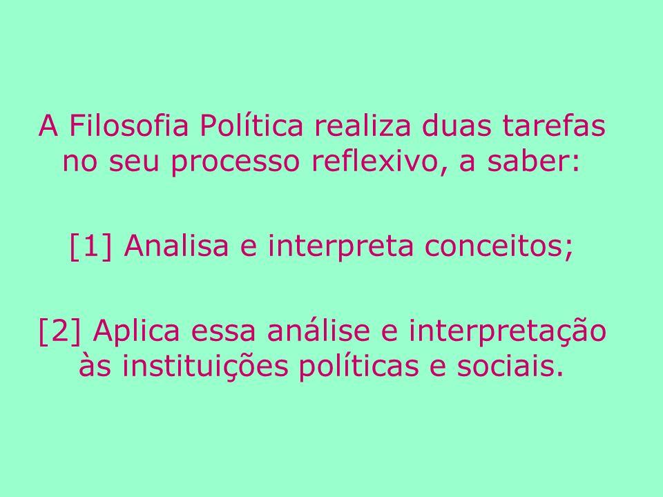 A Filosofia Política realiza duas tarefas no seu processo reflexivo, a saber: [1] Analisa e interpreta conceitos; [2] Aplica essa análise e interpretação às instituições políticas e sociais.