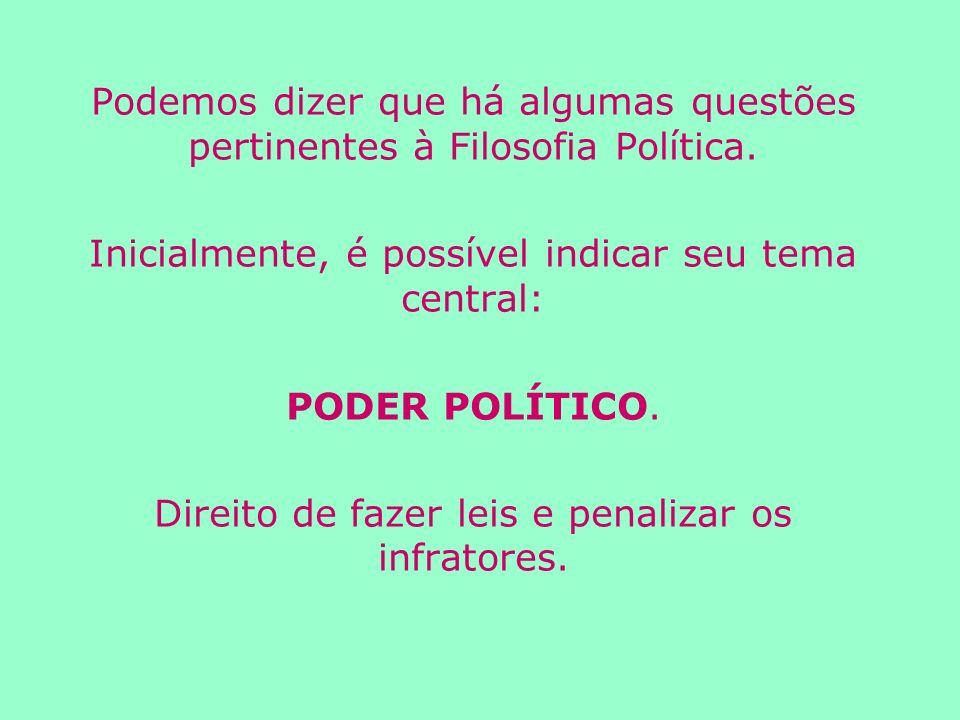 Podemos dizer que há algumas questões pertinentes à Filosofia Política.