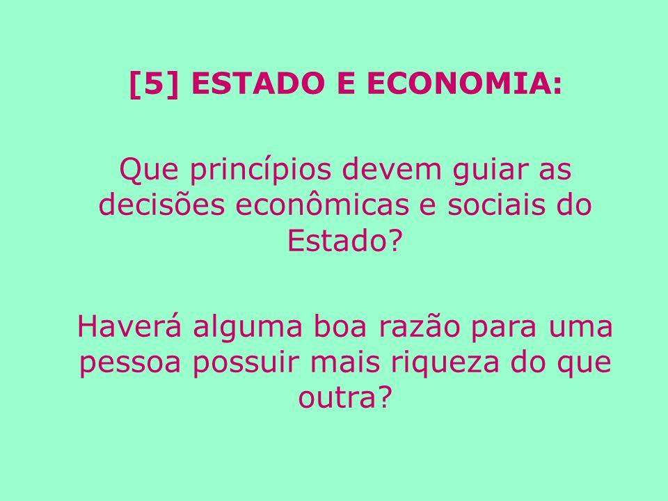 [5] ESTADO E ECONOMIA: Que princípios devem guiar as decisões econômicas e sociais do Estado.