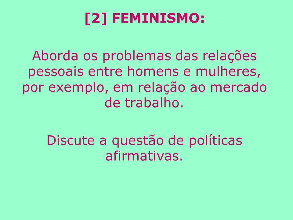 [2] FEMINISMO: Aborda os problemas das relações pessoais entre homens e mulheres, por exemplo, em relação ao mercado de trabalho.