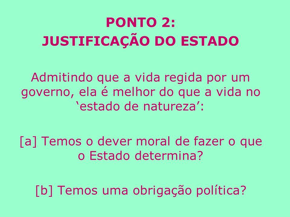 PONTO 2: JUSTIFICAÇÃO DO ESTADO Admitindo que a vida regida por um governo, ela é melhor do que a vida no estado de natureza: [a] Temos o dever moral de fazer o que o Estado determina.