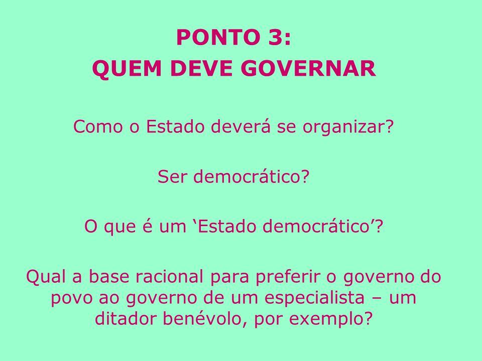 PONTO 3: QUEM DEVE GOVERNAR Como o Estado deverá se organizar.