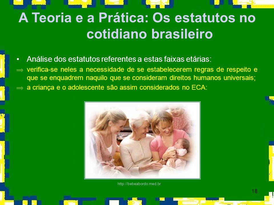 18 A Teoria e a Prática: Os estatutos no cotidiano brasileiro Análise dos estatutos referentes a estas faixas etárias: Þverifica-se neles a necessidad