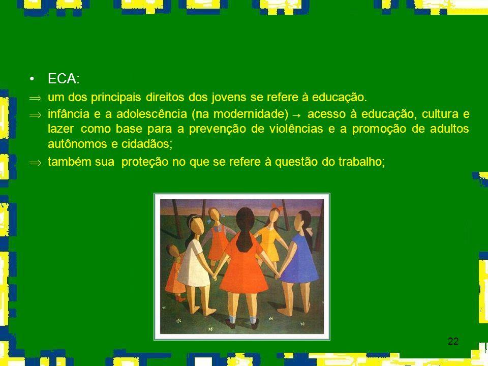 22 ECA: Þum dos principais direitos dos jovens se refere à educação. infância e a adolescência (na modernidade) acesso à educação, cultura e lazer com