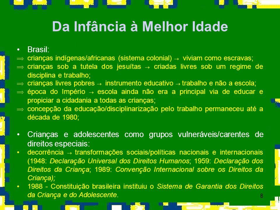 8 Da Infância à Melhor Idade Brasil: crianças indígenas/africanas (sistema colonial) viviam como escravas; crianças sob a tutela dos jesuítas criadas