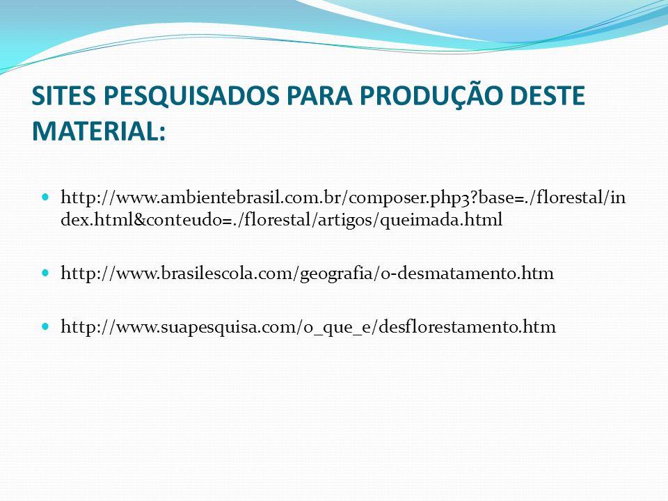 SITES PESQUISADOS PARA PRODUÇÃO DESTE MATERIAL: http://www.ambientebrasil.com.br/composer.php3?base=./florestal/in dex.html&conteudo=./florestal/artig