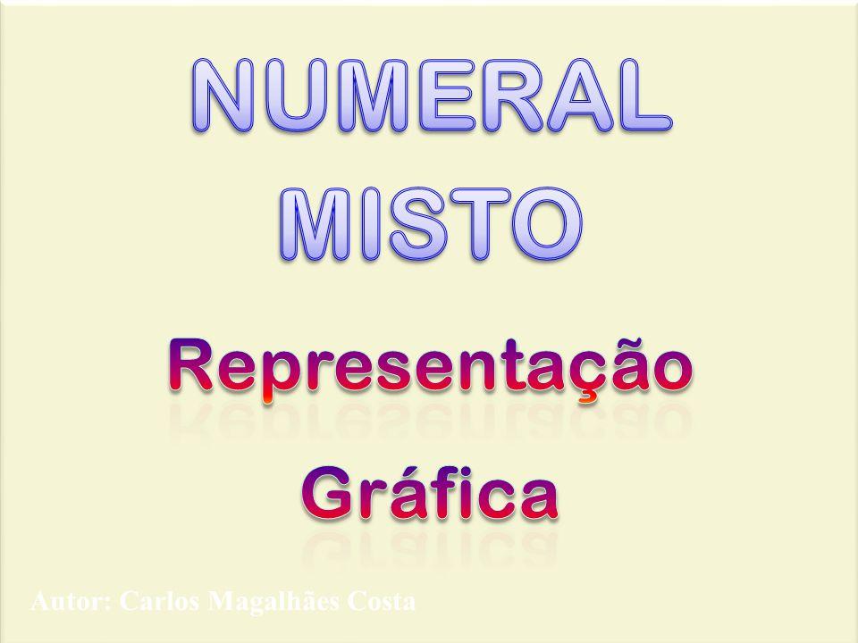 Indica sob a forma de um numeral misto a quantidade de representada na figura a cor amarela.