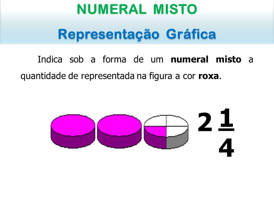 Indica sob a forma de um numeral misto a quantidade de representada na figura a cor roxa. NUMERAL MISTO Representação Gráfica NUMERAL MISTO Representa