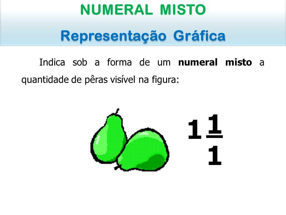 Indica sob a forma de um numeral misto a quantidade de pêras visível na figura: NUMERAL MISTO Representação Gráfica NUMERAL MISTO Representação Gráfic