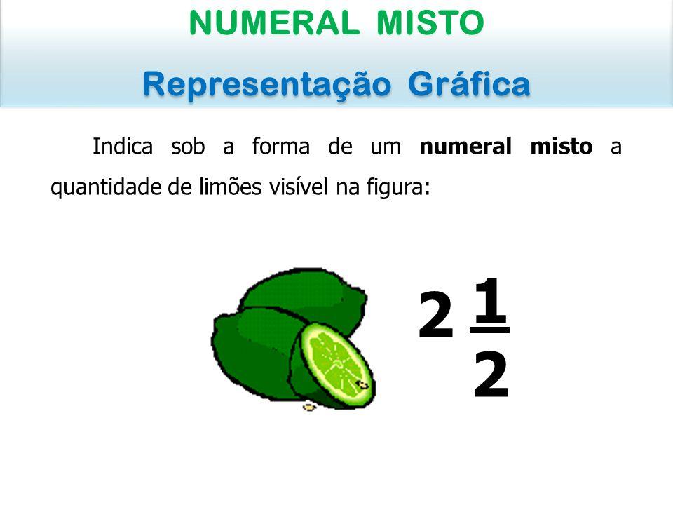 Indica sob a forma de um numeral misto a quantidade de limões visível na figura: NUMERAL MISTO Representação Gráfica NUMERAL MISTO Representação Gráfi