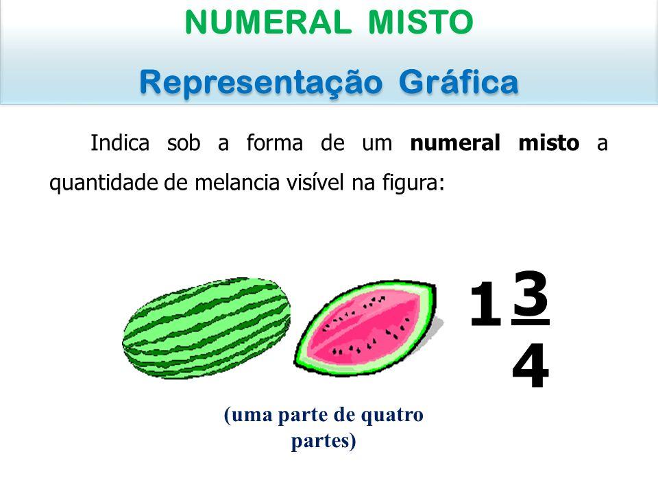 Indica sob a forma de um numeral misto a quantidade de melancia visível na figura: NUMERAL MISTO Representação Gráfica NUMERAL MISTO Representação Grá