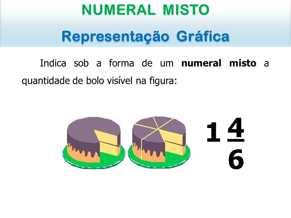 Indica sob a forma de um numeral misto a quantidade de bolo visível na figura: NUMERAL MISTO Representação Gráfica NUMERAL MISTO Representação Gráfica