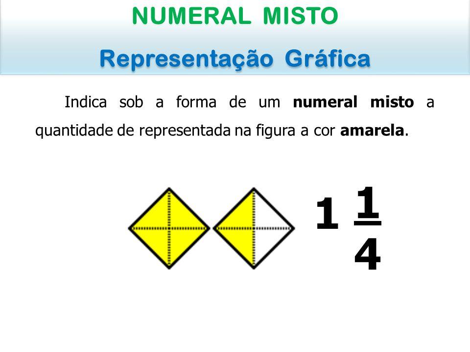 Indica sob a forma de um numeral misto a quantidade de representada na figura a cor amarela. NUMERAL MISTO Representação Gráfica NUMERAL MISTO Represe