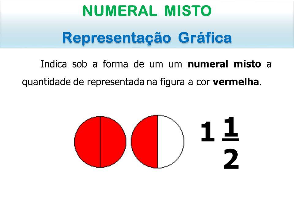 Indica sob a forma de um um numeral misto a quantidade de representada na figura a cor vermelha. NUMERAL MISTO Representação Gráfica NUMERAL MISTO Rep