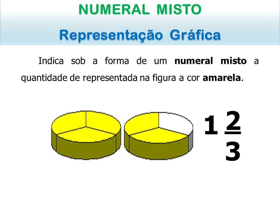 Indica sob a forma de um numeral misto a quantidade de laranja visível na figura: NUMERAL MISTO Representação Gráfica NUMERAL MISTO Representação Gráfica 1818 (uma laranja e uma parte de oito da segunda) 1