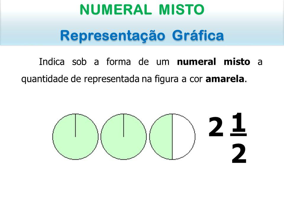 Indica sob a forma de um numeral misto a quantidade de melancia visível na figura: NUMERAL MISTO Representação Gráfica NUMERAL MISTO Representação Gráfica 3434 (uma parte de quatro partes) 1