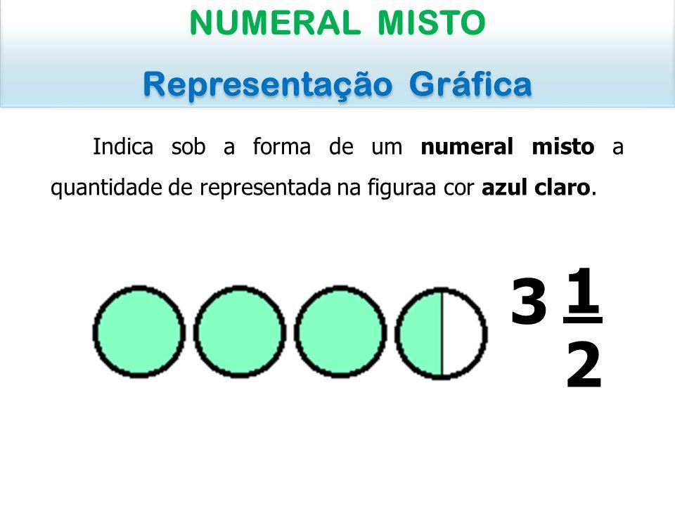 Indica sob a forma de um numeral misto a quantidade de representada na figuraa cor azul claro. NUMERAL MISTO Representação Gráfica NUMERAL MISTO Repre