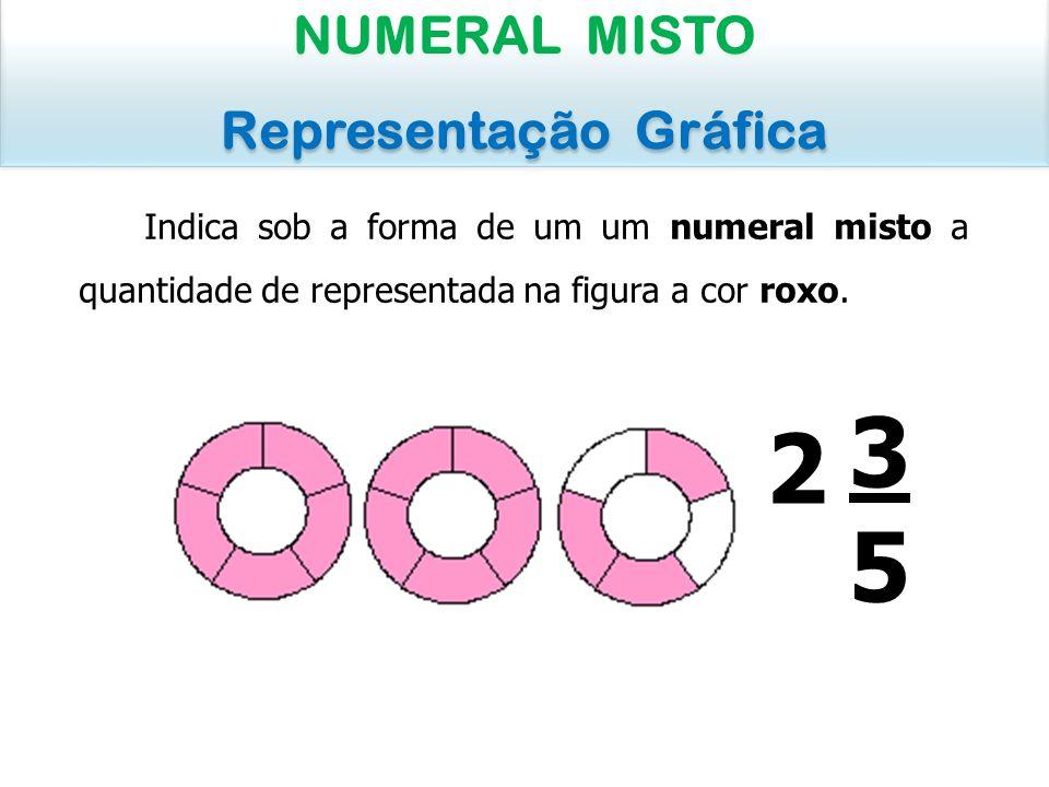 Indica sob a forma de um um numeral misto a quantidade de representada na figura a cor roxo. NUMERAL MISTO Representação Gráfica NUMERAL MISTO Represe