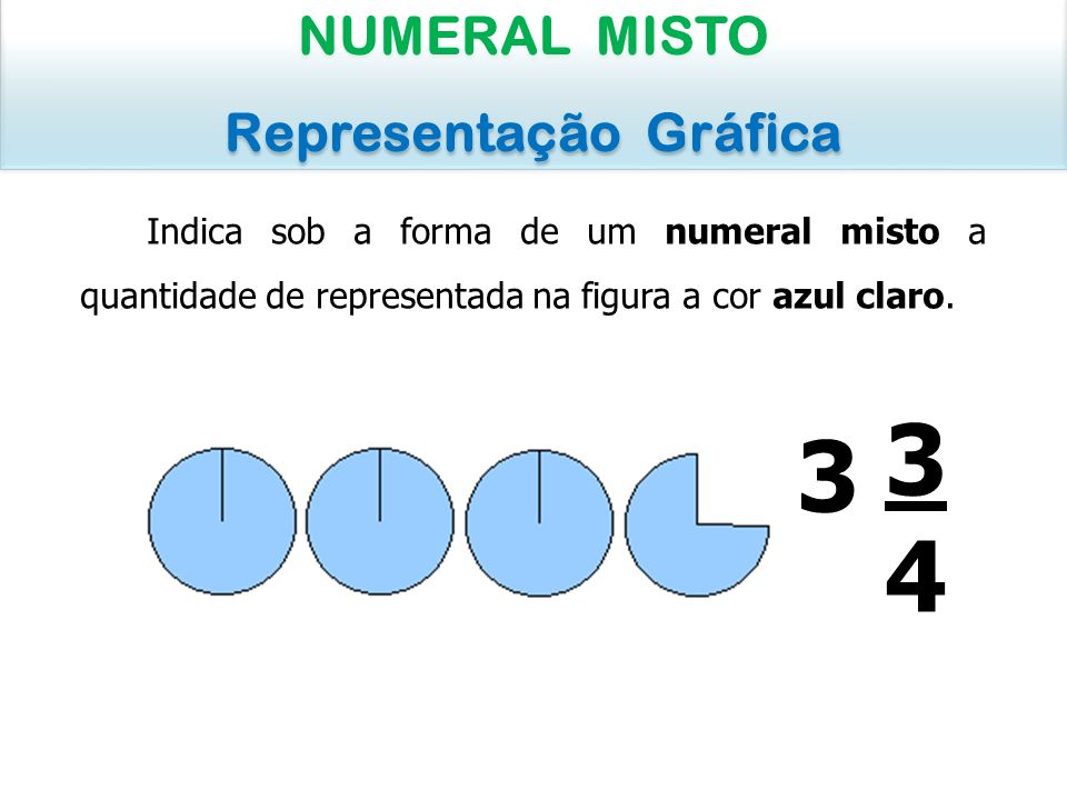 Indica sob a forma de um numeral misto a quantidade de representada na figura a cor azul claro. NUMERAL MISTO Representação Gráfica NUMERAL MISTO Repr