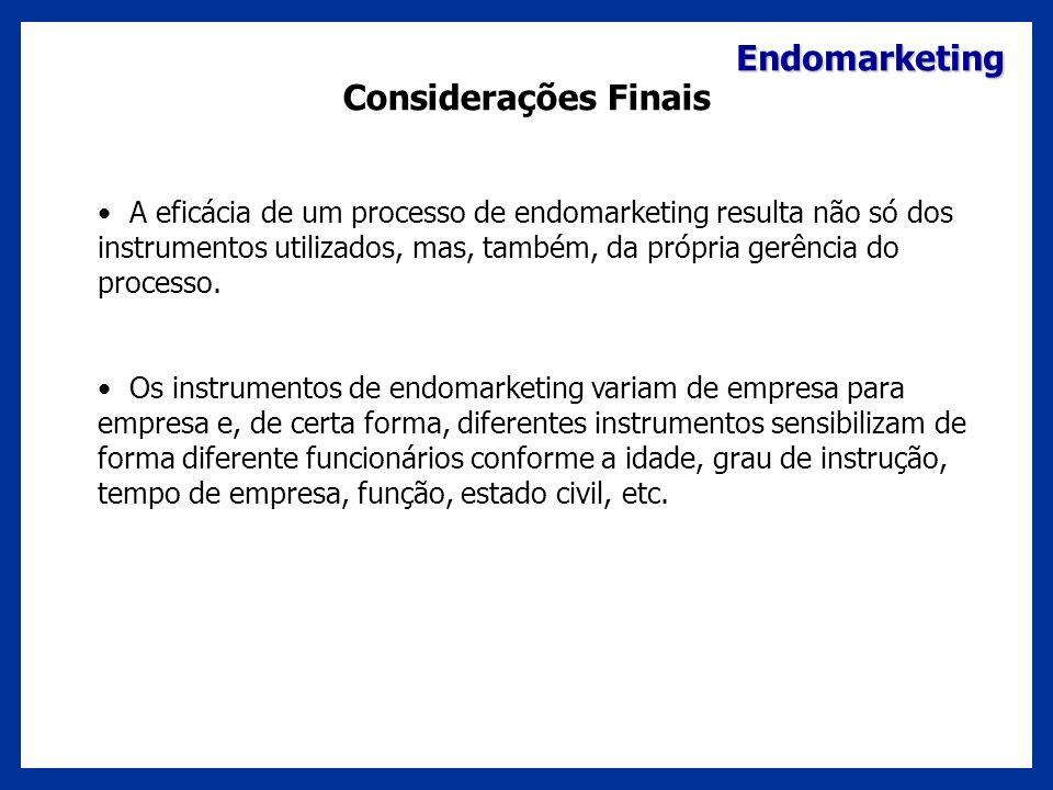 Endomarketing Considerações Finais A eficácia de um processo de endomarketing resulta não só dos instrumentos utilizados, mas, também, da própria gerê