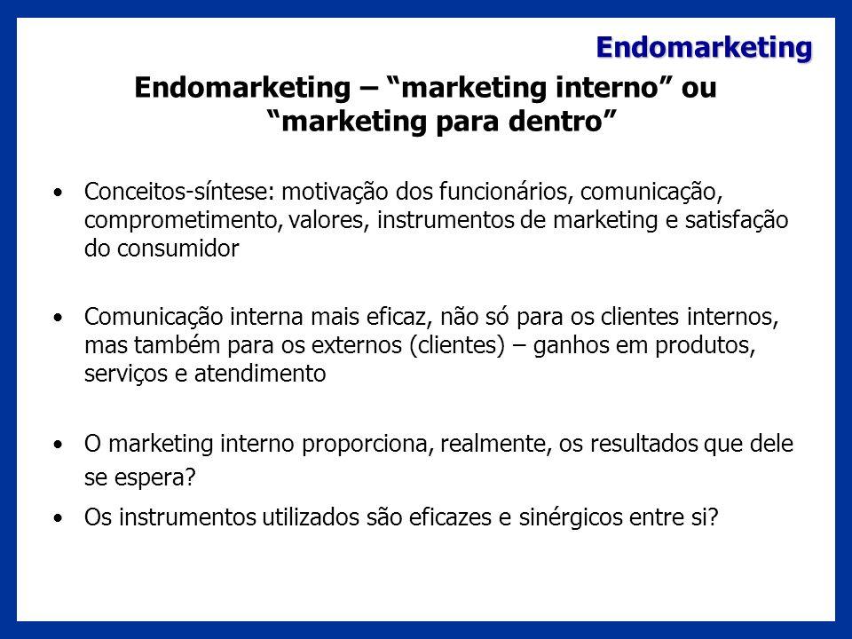 Endomarketing Endomarketing – marketing interno ou marketing para dentro Conceitos-síntese: motivação dos funcionários, comunicação, comprometimento,