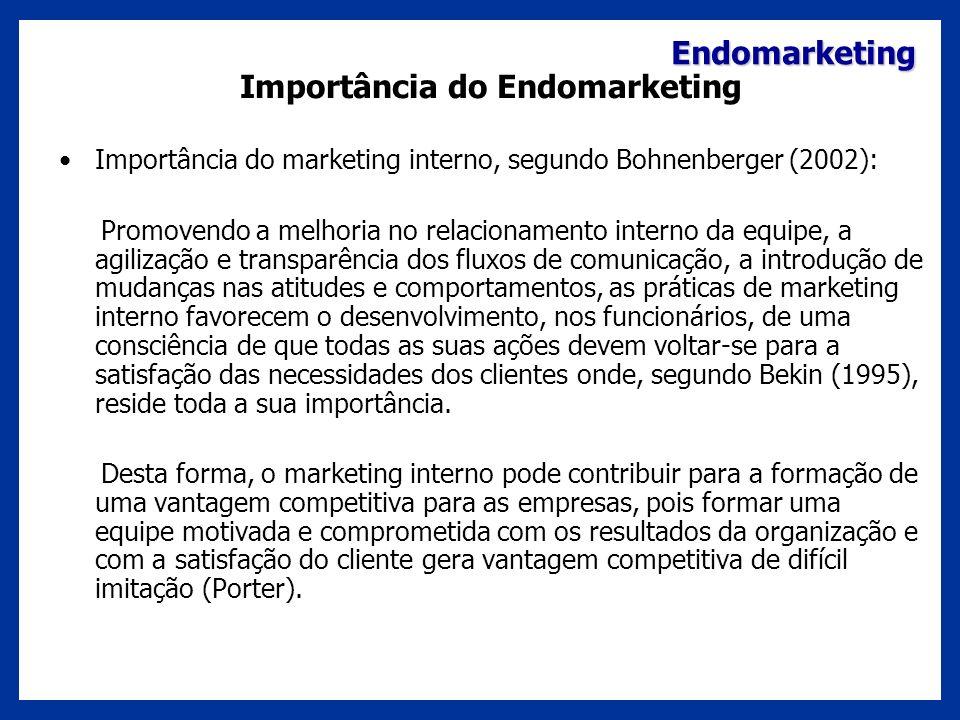 Endomarketing Importância do Endomarketing Importância do marketing interno, segundo Bohnenberger (2002): Promovendo a melhoria no relacionamento inte