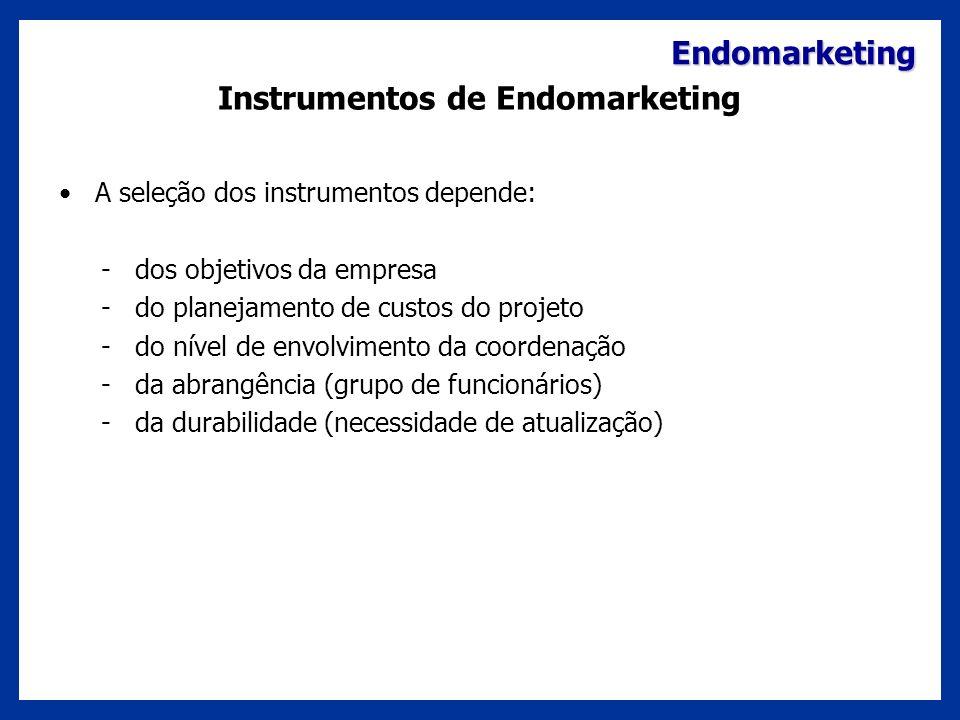 Endomarketing Instrumentos de Endomarketing A seleção dos instrumentos depende: - dos objetivos da empresa - do planejamento de custos do projeto - do