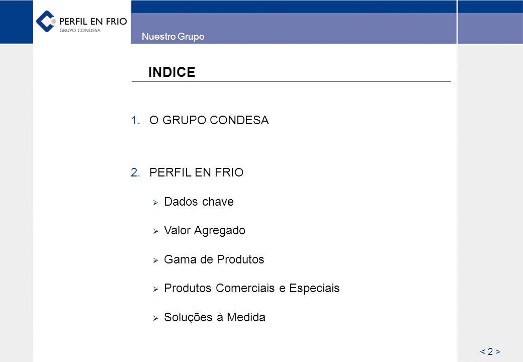 INDICE 1. O GRUPO CONDESA 2. PERFIL EN FRIO Dados chave Valor Agregado Gama de Produtos Produtos Comerciais e Especiais Soluções à Medida Nuestro Grup