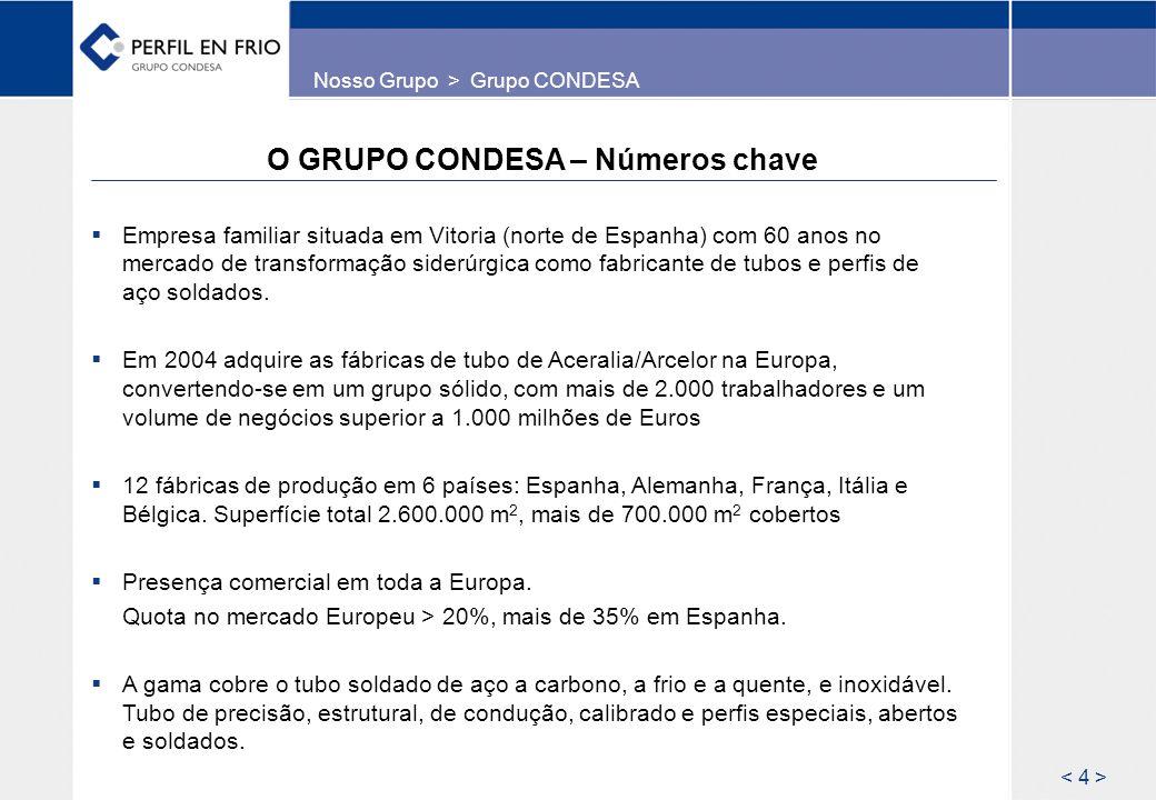O GRUPO CONDESA – Números chave Empresa familiar situada em Vitoria (norte de Espanha) com 60 anos no mercado de transformação siderúrgica como fabric